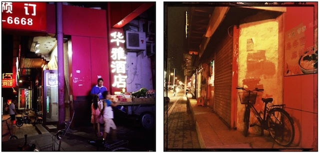 Summer night on a street of Beijing vs winter summer night in Shenyang